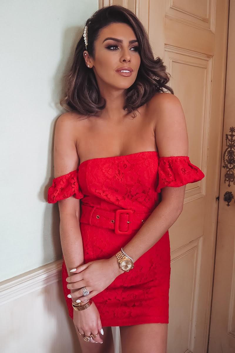 red lace puff sleeve bardot mini dress