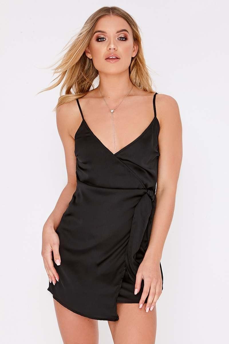 black wrap front satin dress