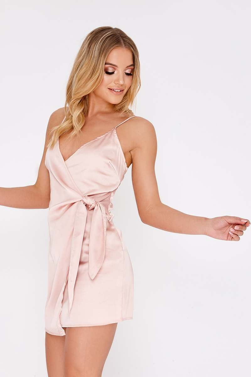 nude wrap front satin dress