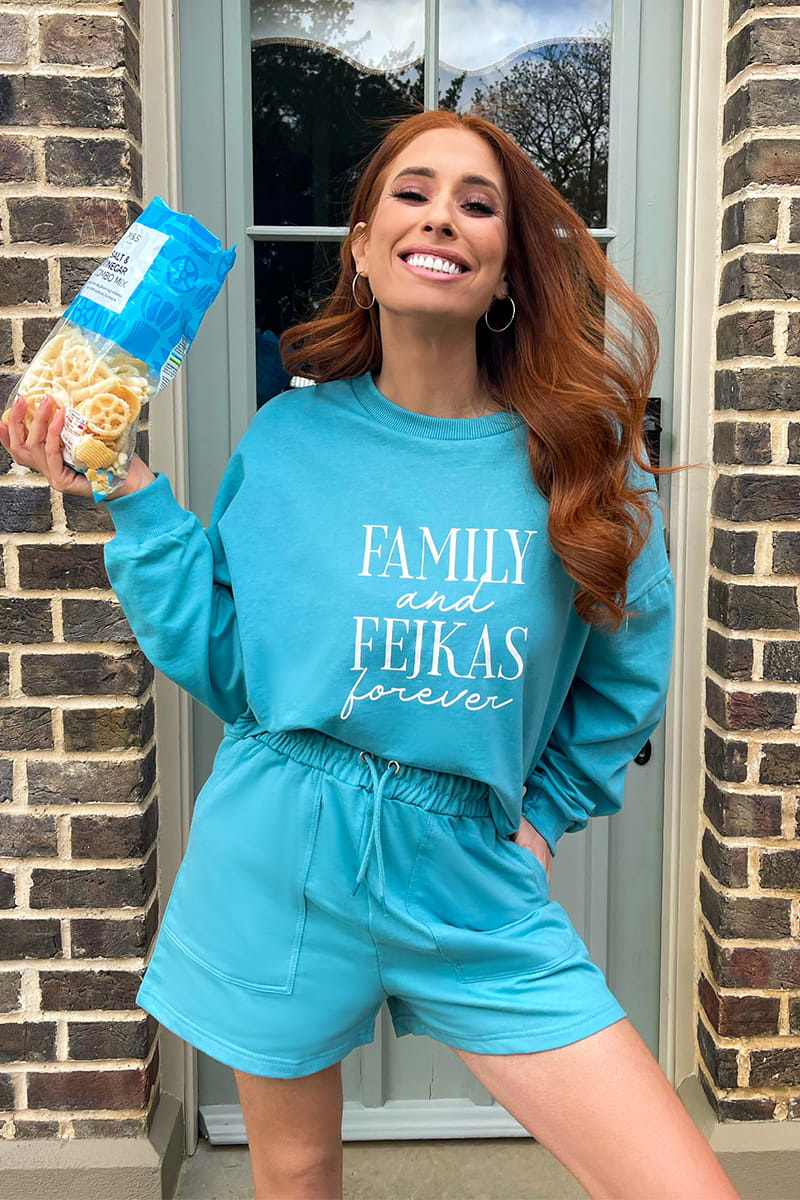 STACEY SOLOMON TEAL LOOPBACK RELAXED FIT SWEAT SHORT