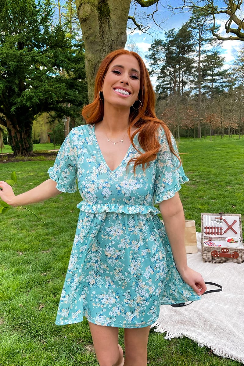 STACEY SOLOMON SAGE DITSY FLORAL RUFFLE DAY DRESS