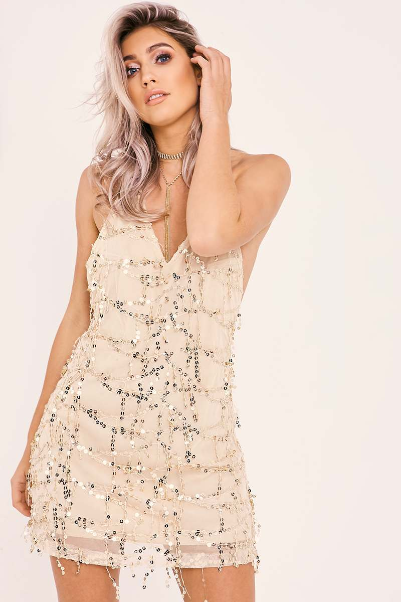 nude tassel sequin slip dress