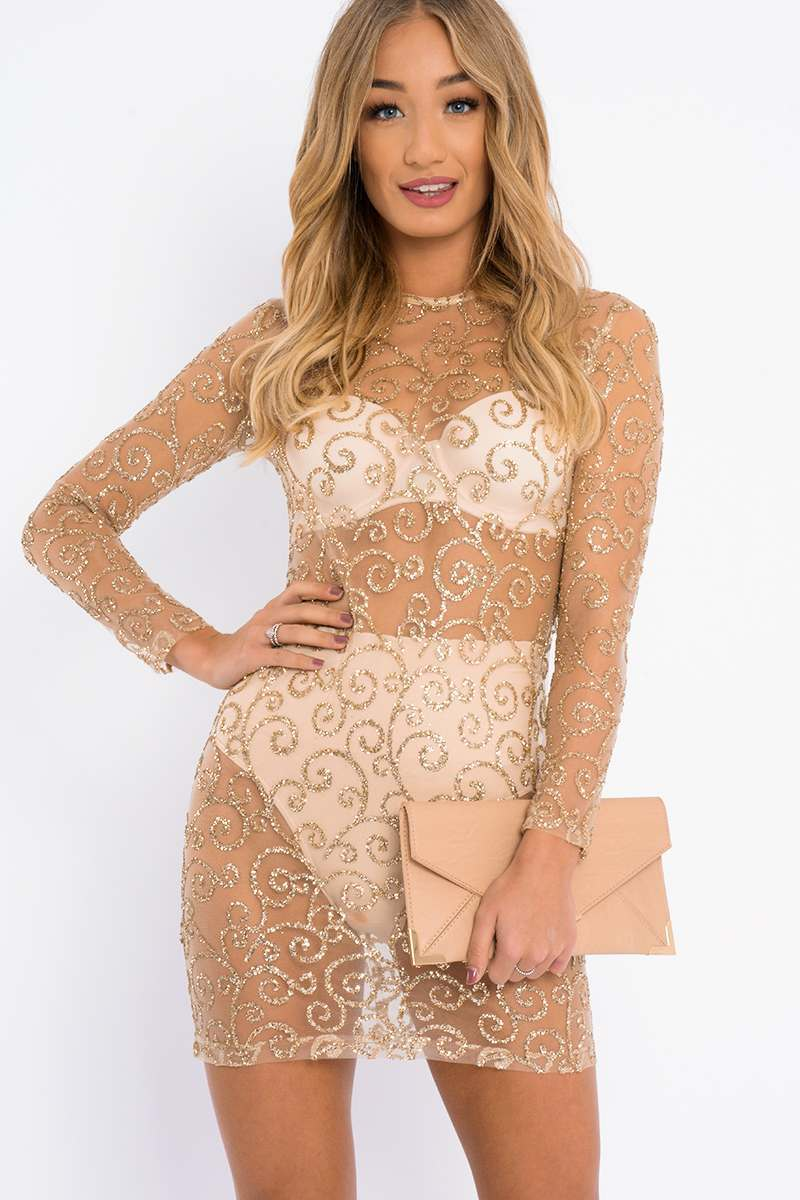 ADELAH GOLD GLITTER MESH BODYCON DRESS