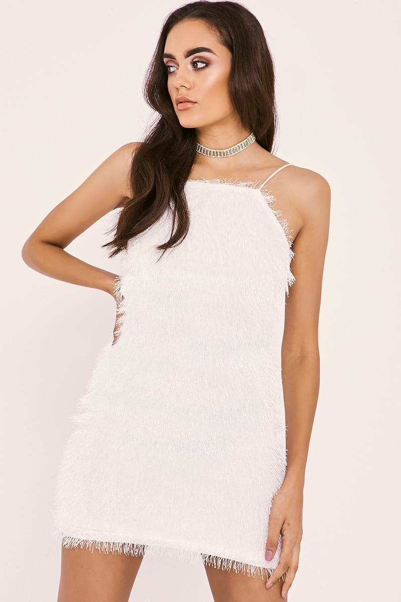 white fringe lace up backless dress
