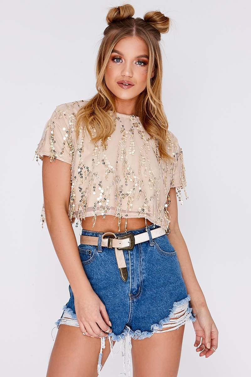 TINA ROSE GOLD TASSEL SEQUIN CROP TOP