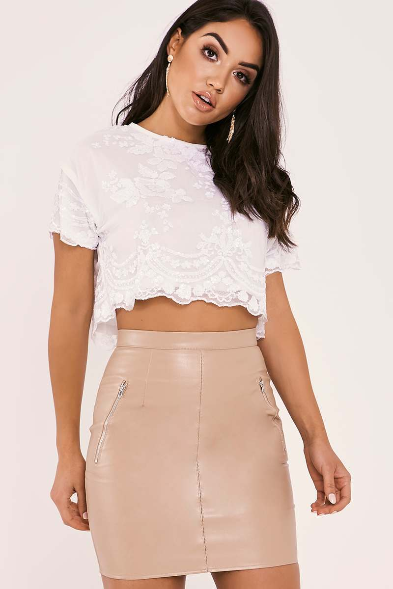 white floral sequin crop top