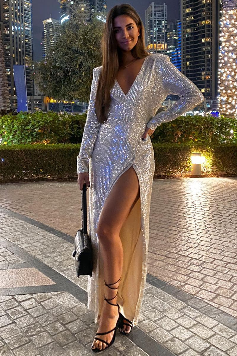 STEPHSA GOLD SEQUIN DRAPED MAXI DRESS