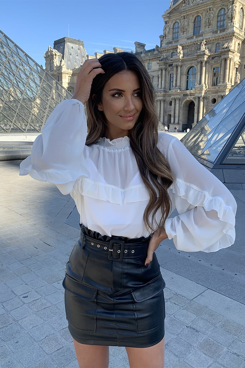 STEPHSA WHITE SHEER CHIFFON SHIRRED NECK FRILL DETAIL BLOUSE