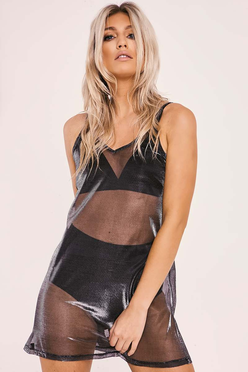 silver metallic mesh slip dress