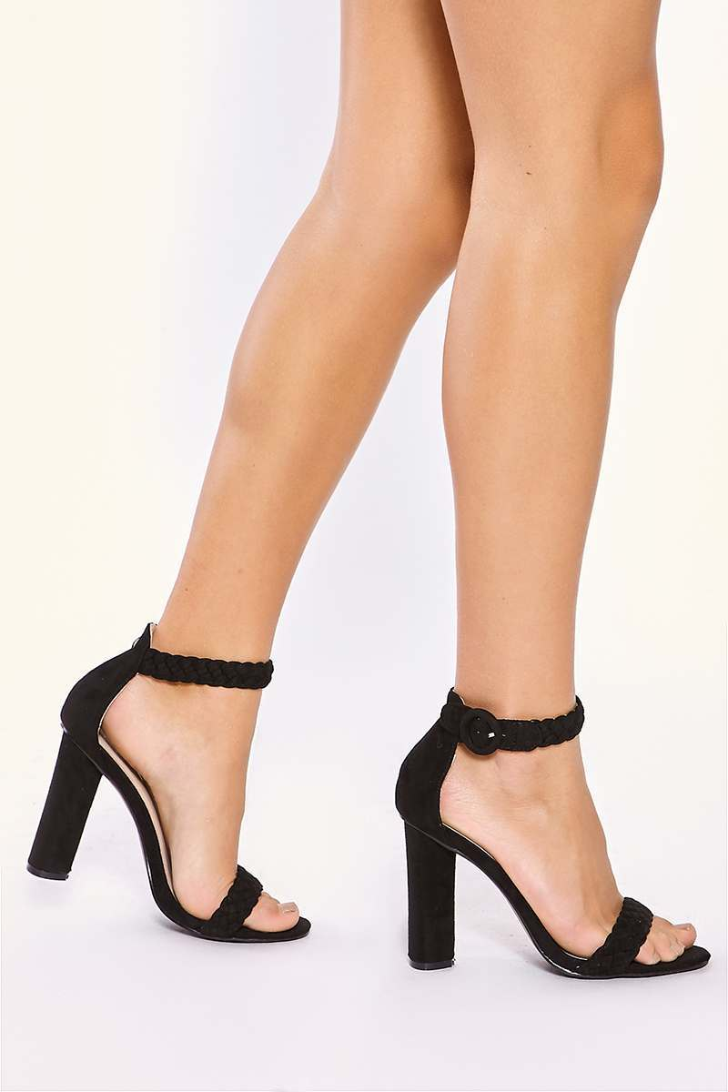 black plait ankle strap heels