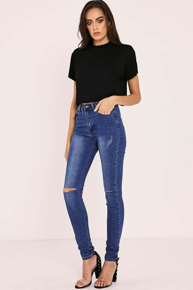 ESTER MID WASH HIGH WAISTED RIPPED KNEE SKINNY JEANS