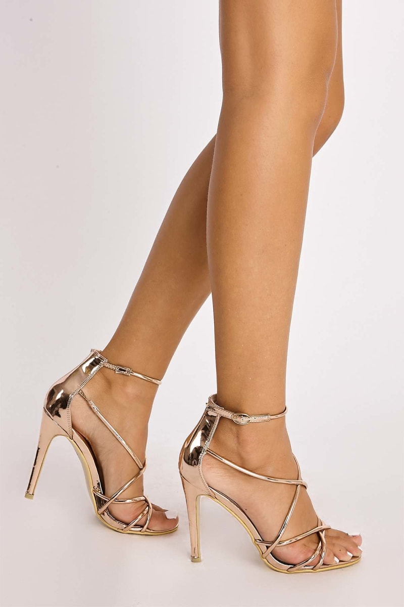 rose gold chrome strappy heels