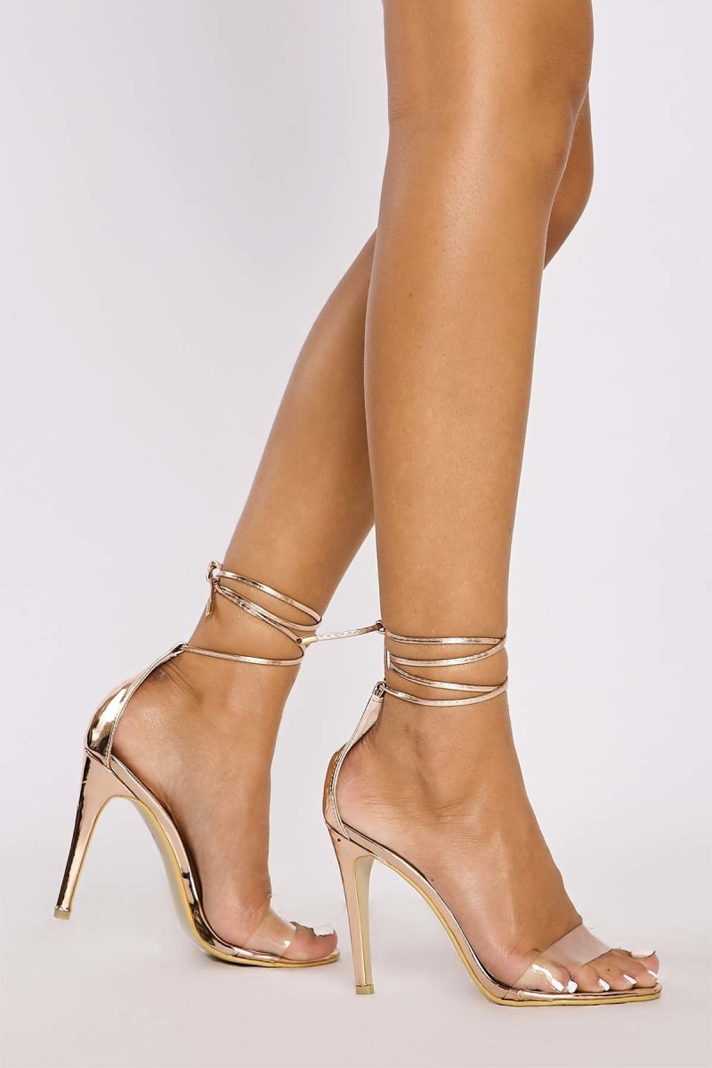 rose gold chrome clear strap tie leg heels