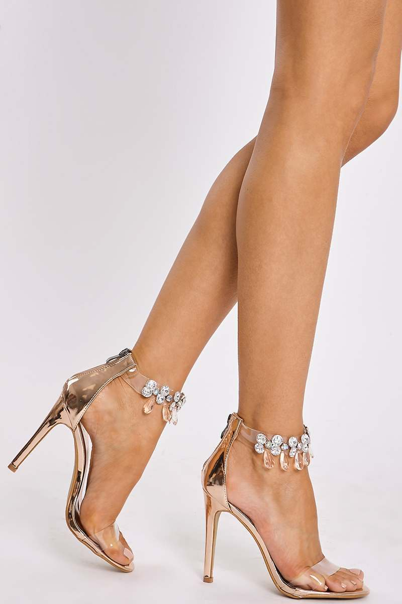 rose gold jewel clear strap heels