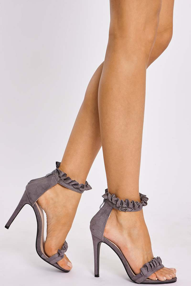 grey faux suede ruffle strap barely there heels