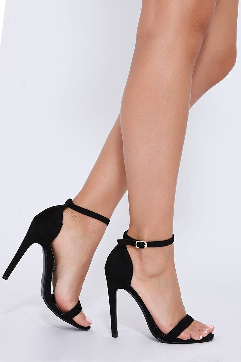 MARNEY BLACK FAUX SUEDE ANKLE STRAP BARELY THERE HEELS