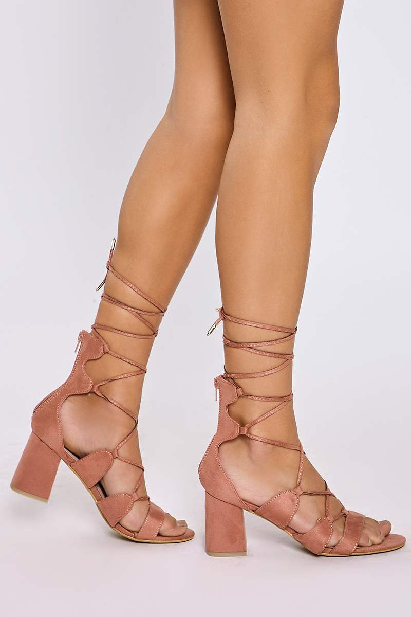KAIDA PINK FAUX SUEDE LACE UP OPEN TOE HEELS