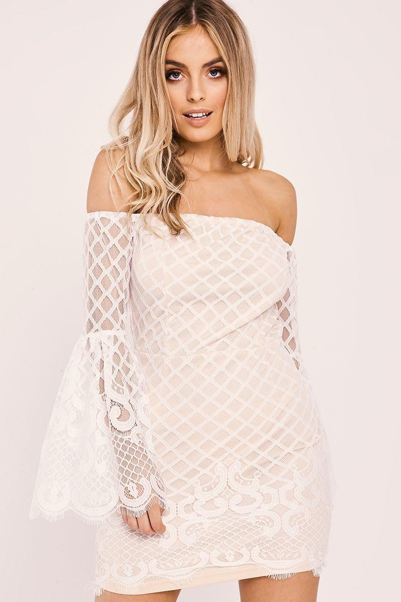 ALIZA WHITE LACE FLARED SLEEVE BARDOT DRESS