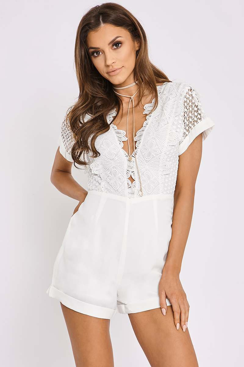 BRIDGETTE WHITE CROCHET TOP PLUNGE PLAYSUIT