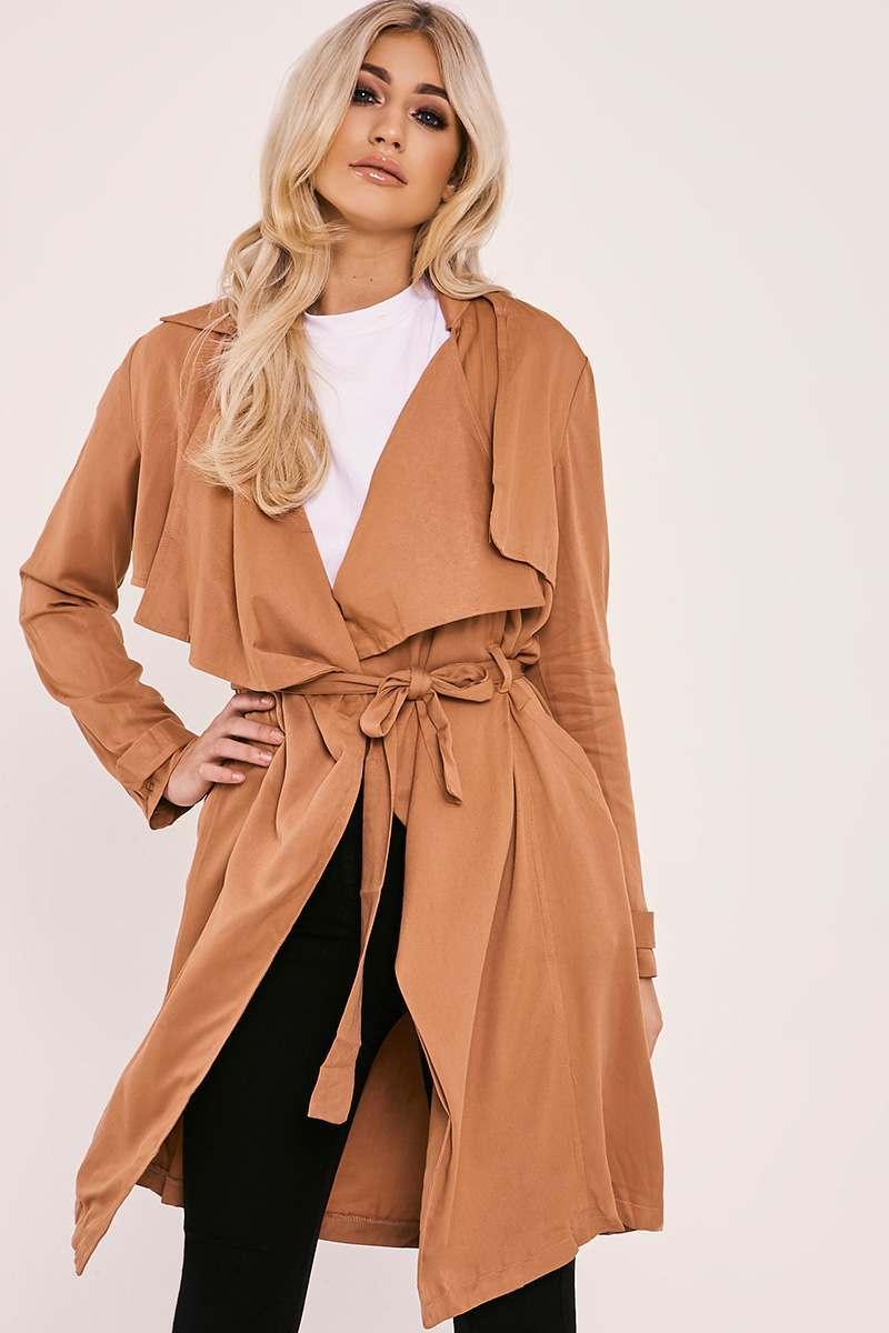 camel tie waist duster jacket