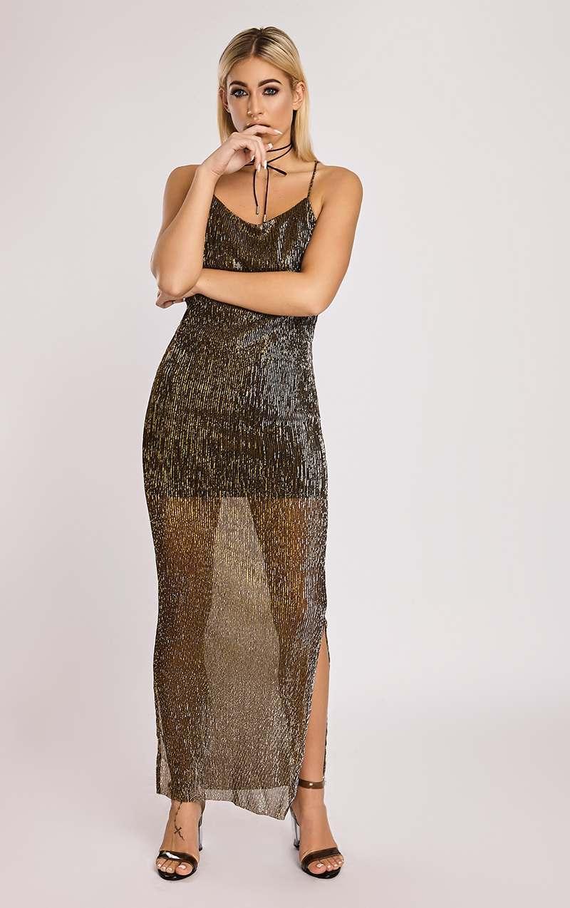 gold metallic pleated lurex split side maxi dress