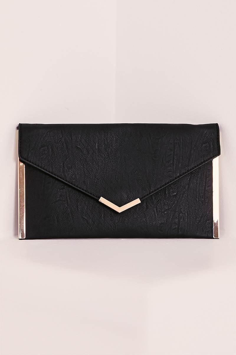 DION BLACK ENVELOPE CLUTCH BAG