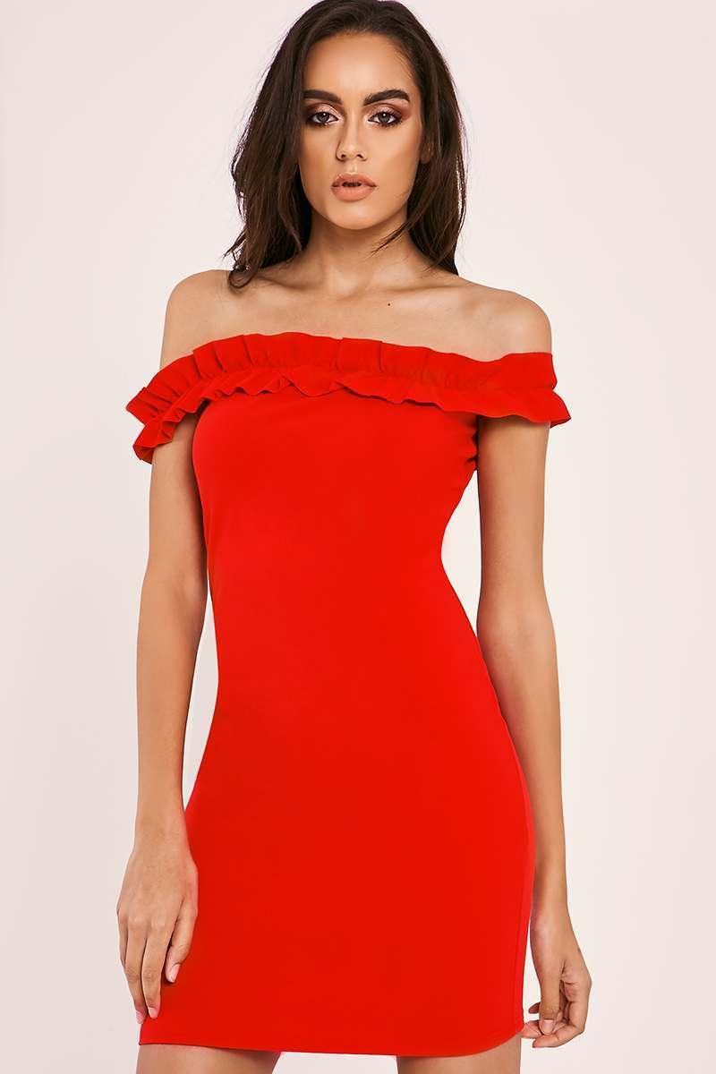 CAMIE RED FRILL BARDOT MINI DRESS