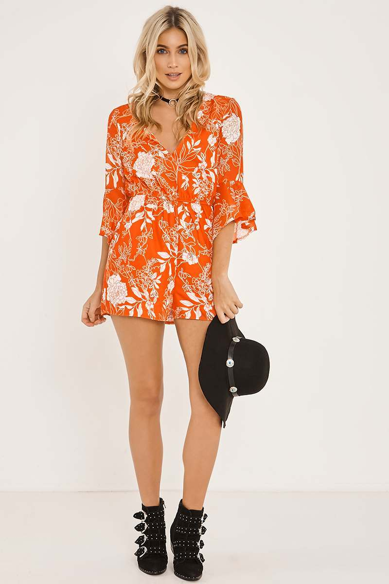 FIONNA RED FLORAL PRINT FLARE SLEEVE PLAYSUIT