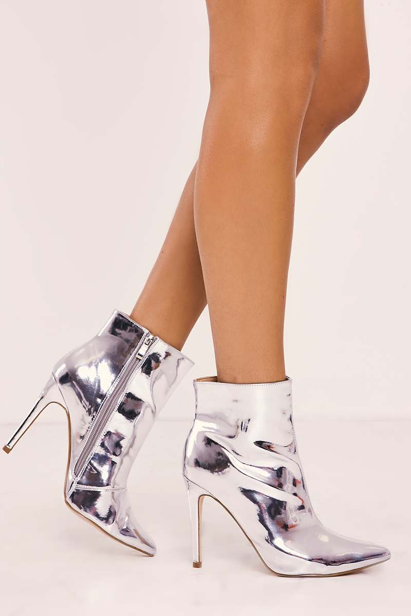 SHEINA SILVER HEELED ANKLE BOOTS