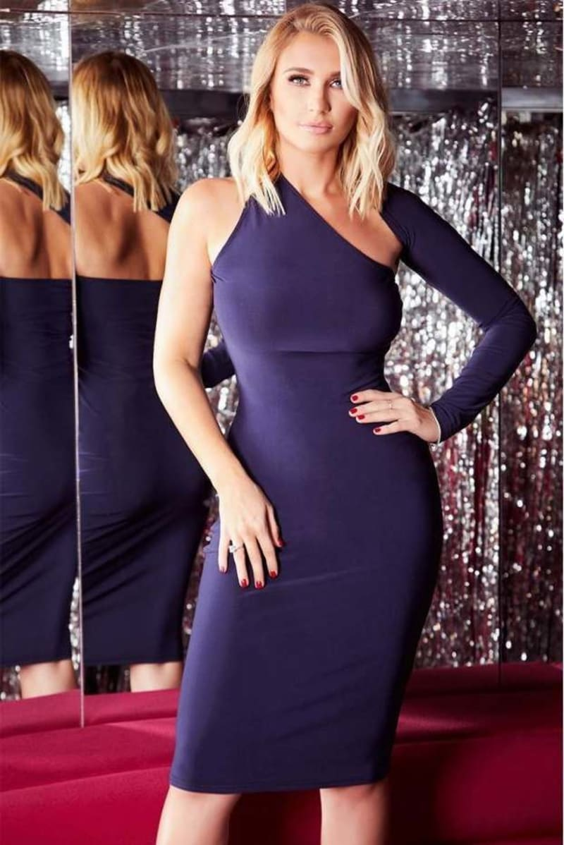 BILLIE FAIERS NAVY ONE SLEEVE SLINKY MIDI DRESS