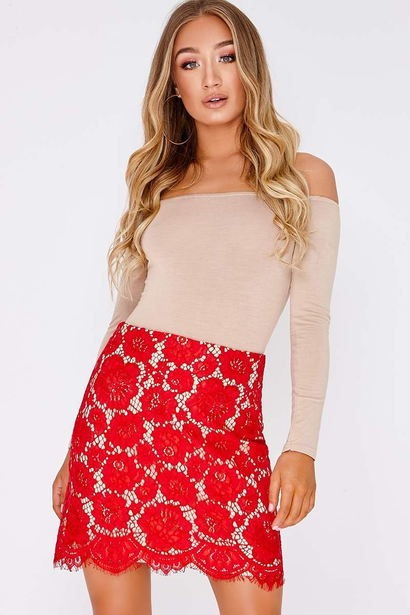 KAROLINE RED LACE SKIRT