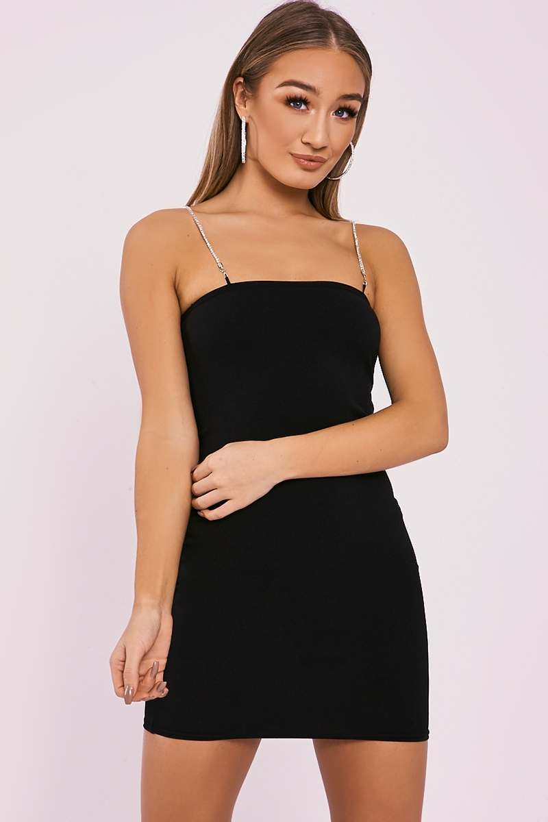 GRAYCE BLACK DIAMANTE STRAP BODYCON DRESS