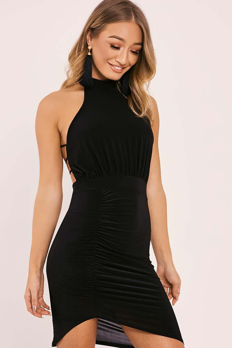 DAJA BLACK HALTERNECK RUCHED SLINKY DRESS