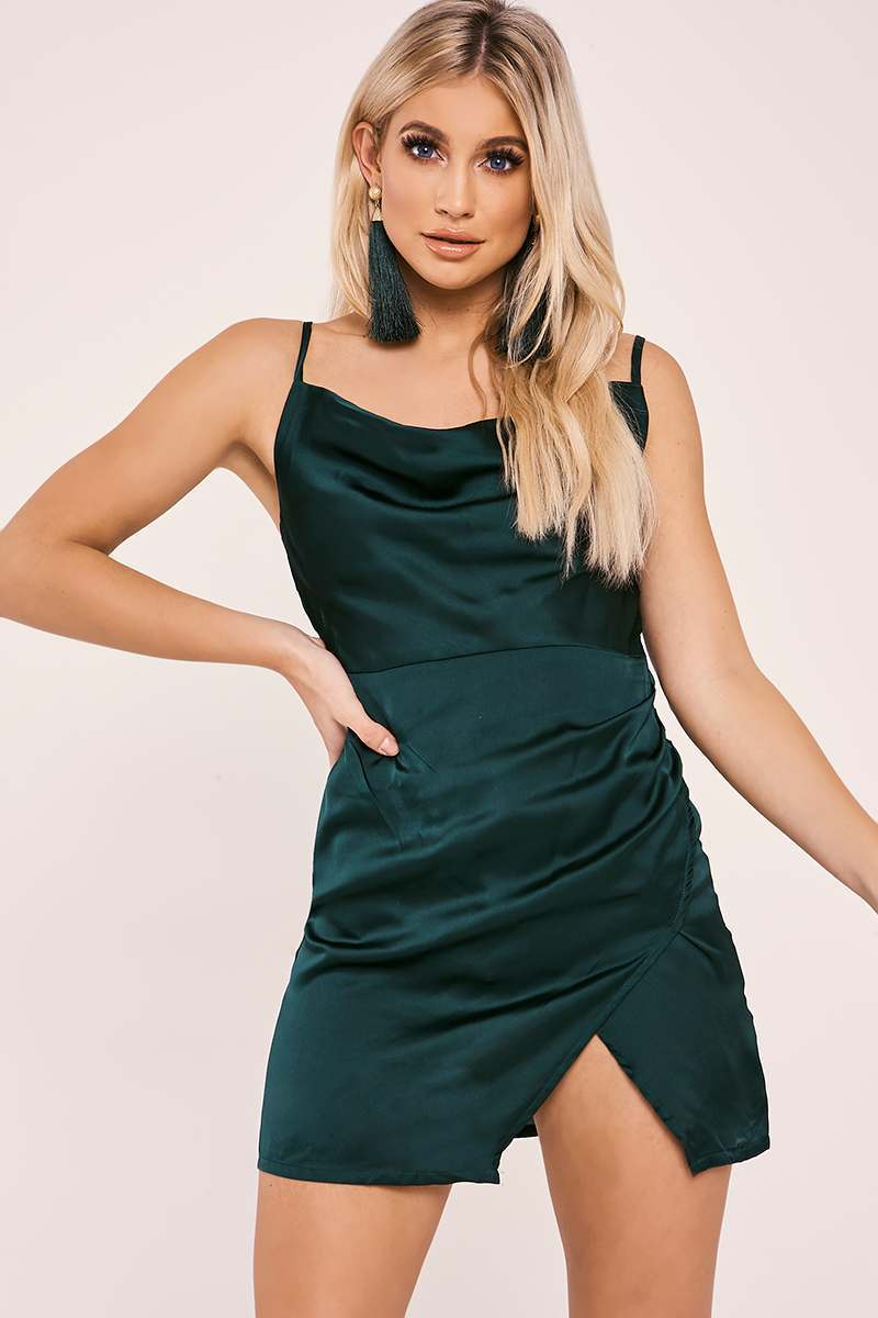 ANAIS GREEN COWL NECK WRAP SPLIT DRESS