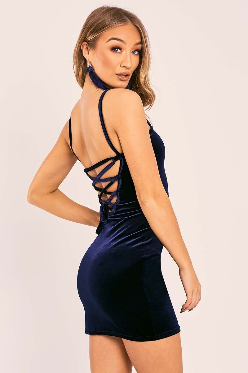 ELIANNE NAVY VELVET LACE UP BACK MINI DRESS
