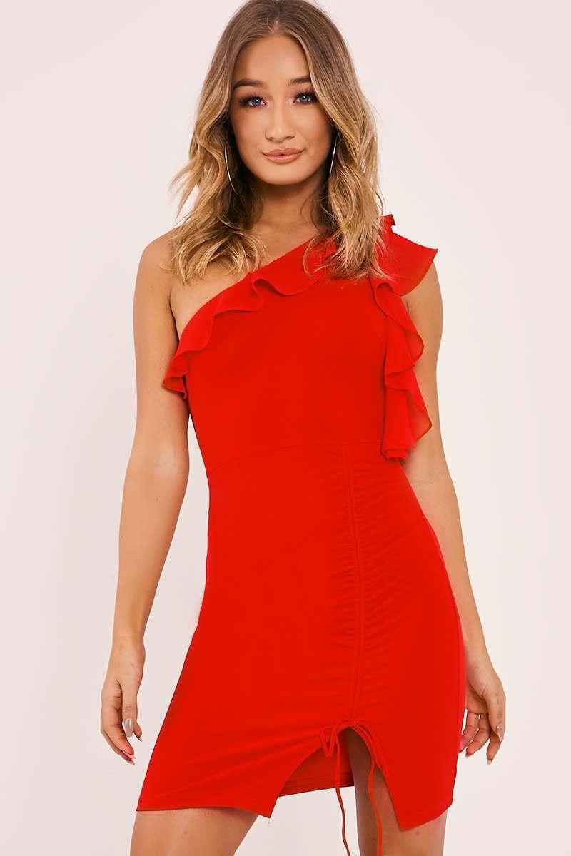 CALIE RED ONE SHOULDER FRILL RUCHED DRESS