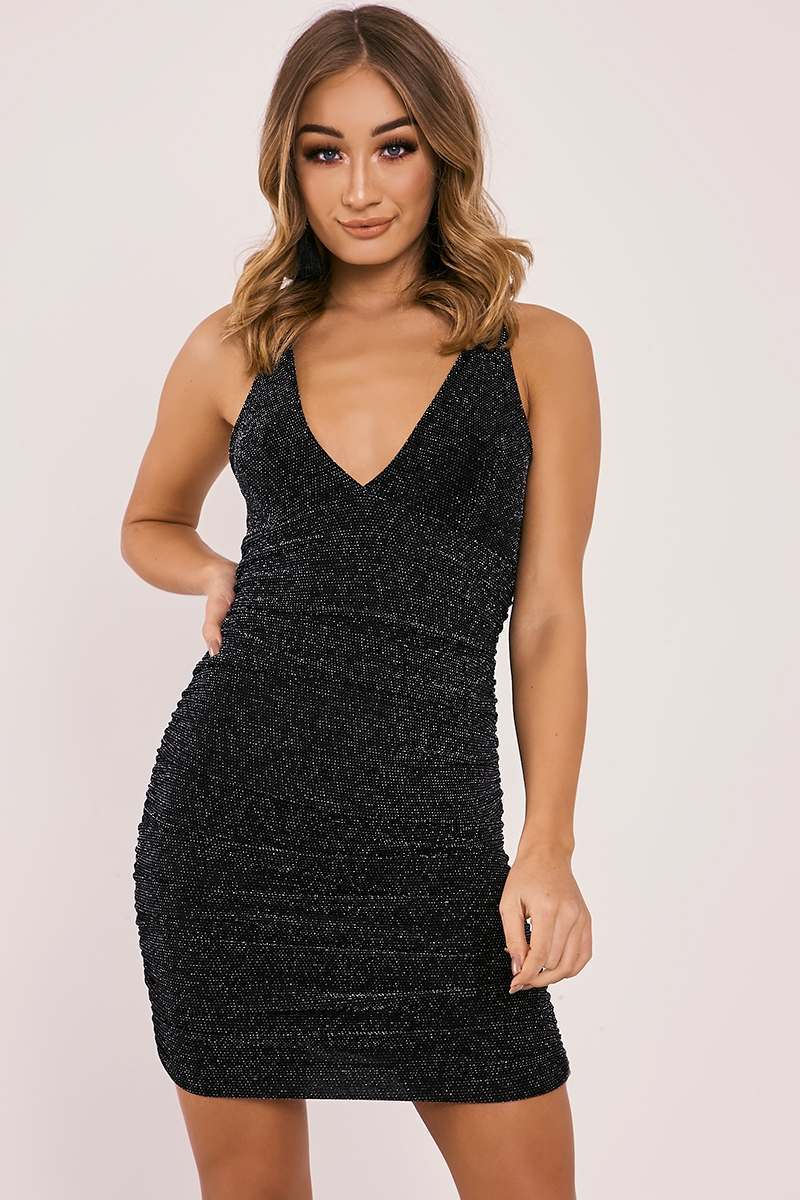 BRINA BLACK GLITTER PLUNGE RUCHED DRESS