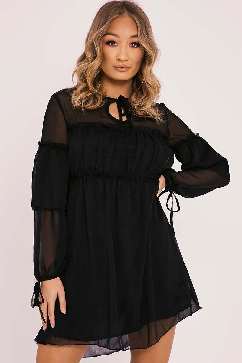 AKIVA BLACK SHEER FRILL DRESS