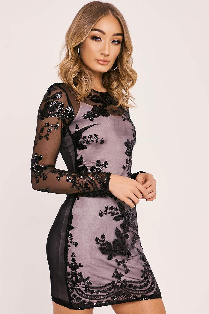 ELKE BLACK SEQUIN FLORAL LONG SLEEVED BODYCON DRESS