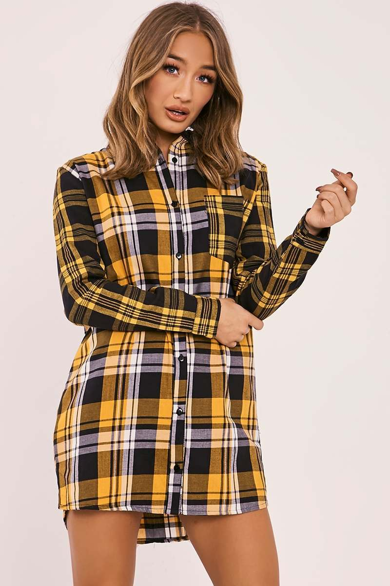 ARADIA MUSTARD CHECKED SHIRT DRESS