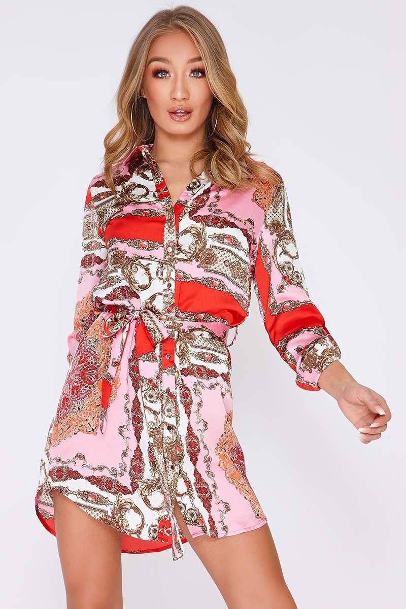 FARIA PINK SATIN SCARF PRINT SHIRT DRESS