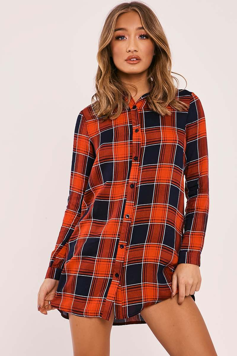 ARRIS RED CHECKED SHIRT DRESS