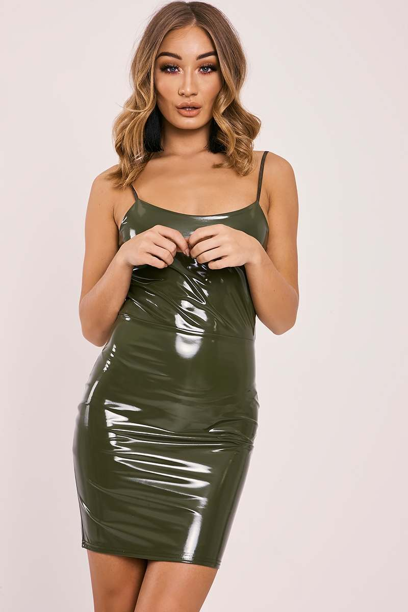 CARYN KHAKI VINYL STRAPPY BODYCON DRESS