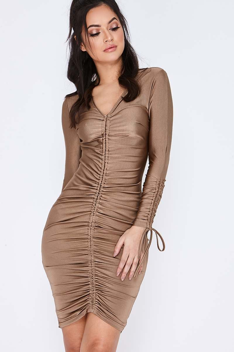 gold slinky ruched long sleeved dress