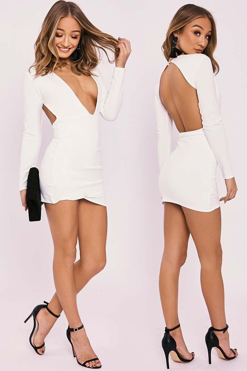 BETSEY WHITE PLUNGE BACKLESS LONG SLEEVE DRESS