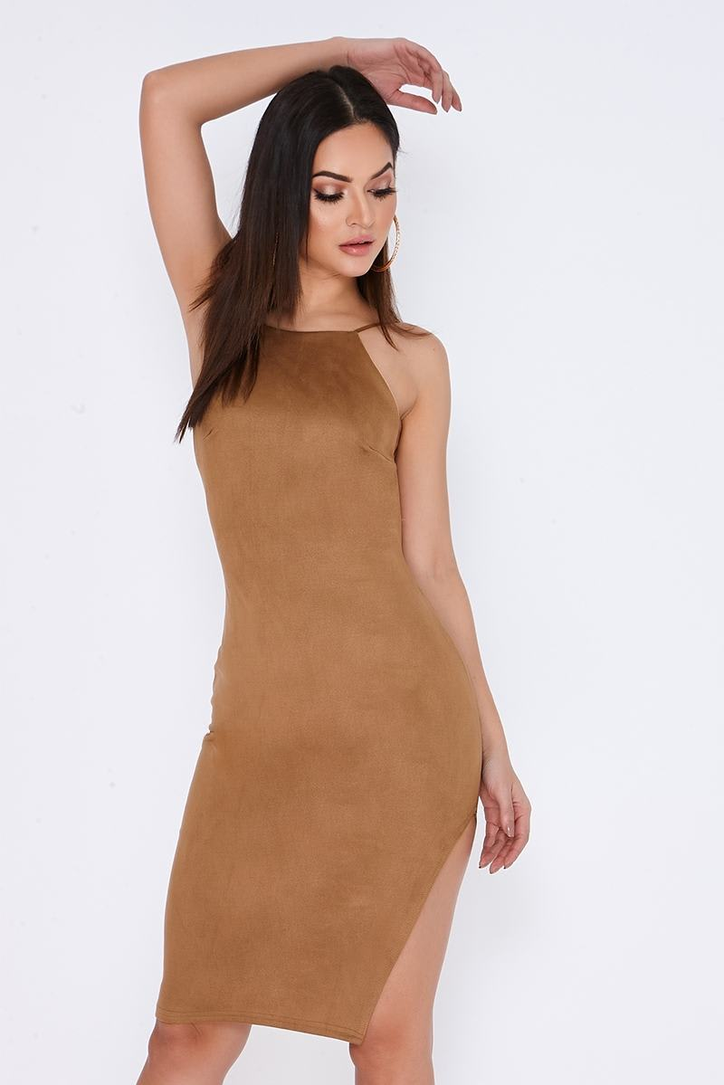 CHARLISA TAN FAUX SUEDE BACKLESS MIDI DRESS