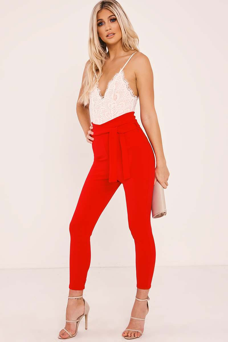 IVANNA RED CROPPED PAPERBAG TROUSERS