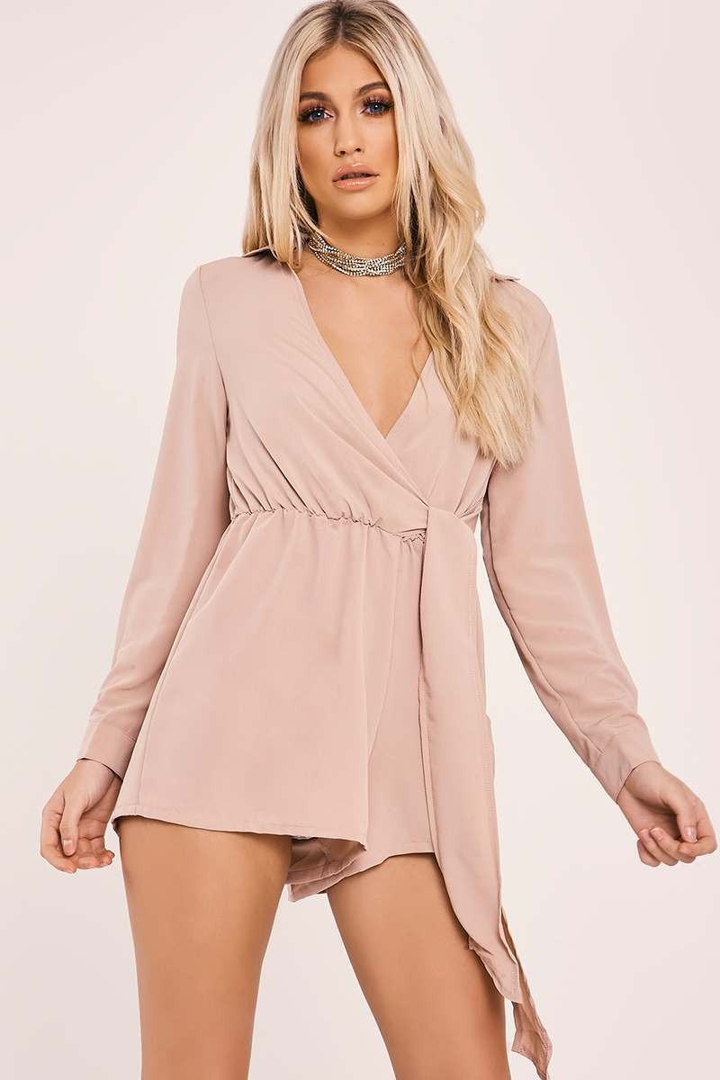 ZILLA NUDE WRAP SHIRT PLAYSUIT