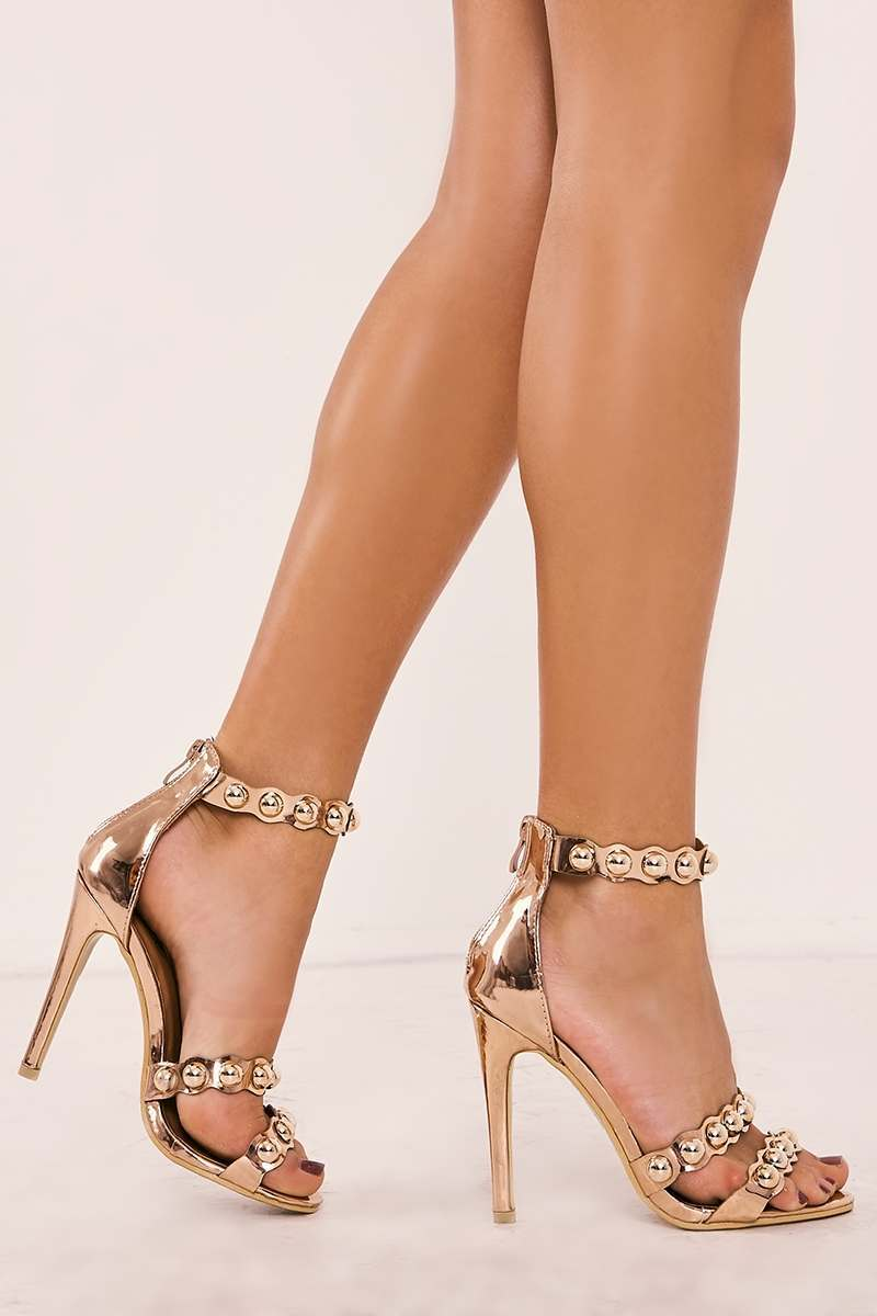 REBEKAH ROSE GOLD STUD STRAPPY SANDALS