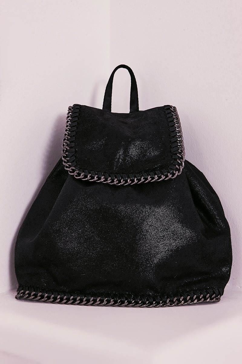 BLACK FAUX SUEDE CHAIN TRIM BACKPACK